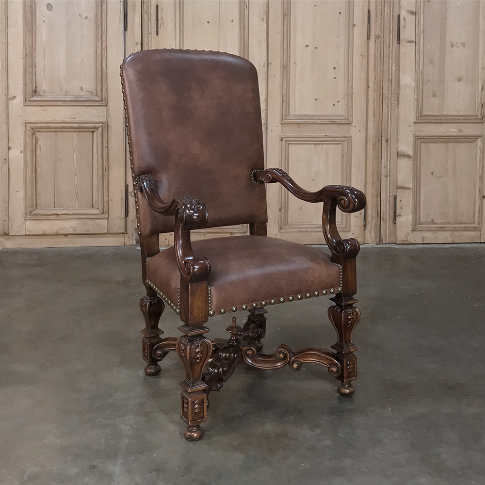 Louis XIV Leather Armchair - Inessa Stewart's Antiques