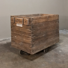 Early 20th Century Rustic Stripped Pine Industrial Cart