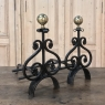 Pair 19th Century Wrought Iron & Brass Andirons