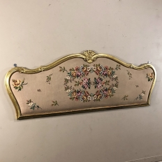 Antique Italian Baroque Giltwood Headboard with Needlepoint