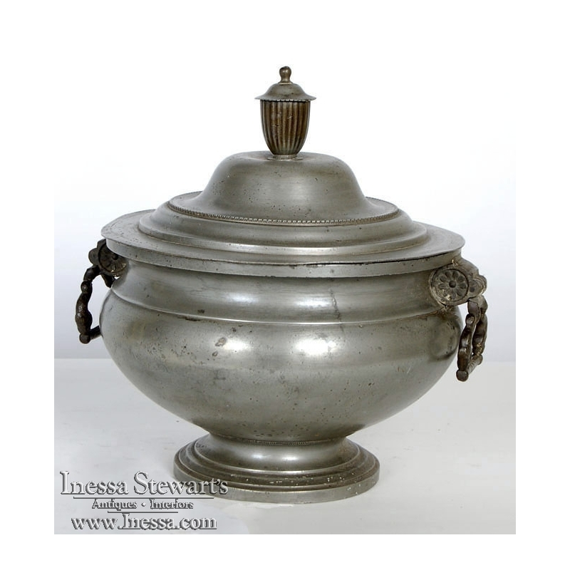 Antique Pewter Soup Tureen