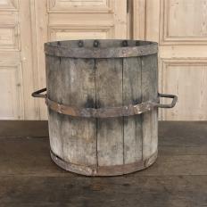 Antique Oak Stave, Brass & Iron Bucket