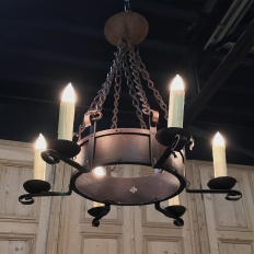Wrought Iron Chandelier with Quatrefoils