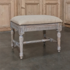 Louis XVI Painted Stool with Linen Upholstery