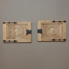 Pair Antique Hand-Carved Stripped Oak Door Panels