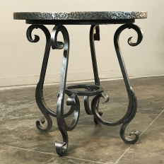 Reproduction Wrought Iron and Plank End Table