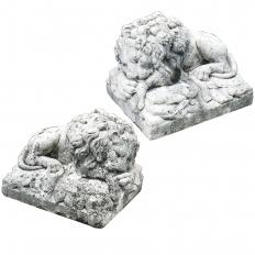 Pair Cast Stone Lions