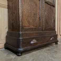 19th Century Dutch Hand Carved Walnut Vitrine by Horrix