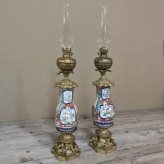 Pair 19th Century Hand-Painted Porcelain & Bronze Oil Lanterns