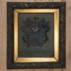 18th Century Framed Family Crest Oil Painting on Canvas