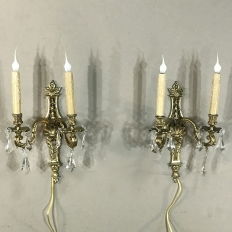 Pair French Louis XIV Bronze Sconces with Crystals