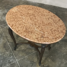 19th Century French Louis XV Oval Marble Top End Table