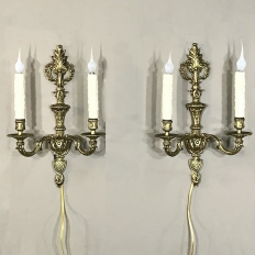 Pair Antique French Louis XVI Bronze Sconces