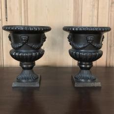 Garden Urns, Pair 19th Century Neoclassical in Cast Iron