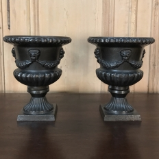 Pair Antique Cast Iron Urns