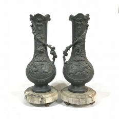 Pair Art Nouveau Period Spelter on Marble Mantel Vases