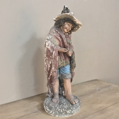 19th Century Terra Cotta Painted Statue