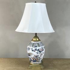 Antique Delft Porcelain Urn Table Lamp