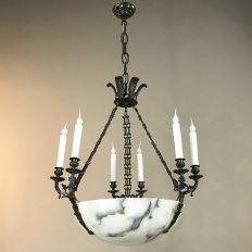 Antique French Empire Alabaster & Bronze Chandelier