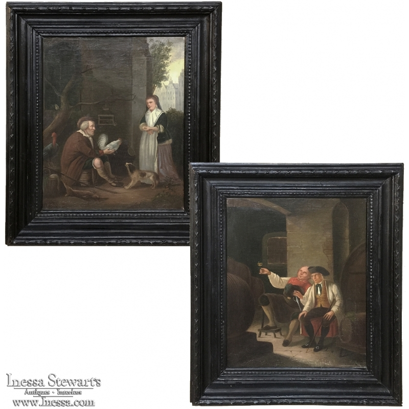 Pair 19th Century Framed Oil Paintings on Canvas by I. Gorius
