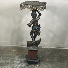 19th Century Hand-Painted Venetian Blackamore Pedestal