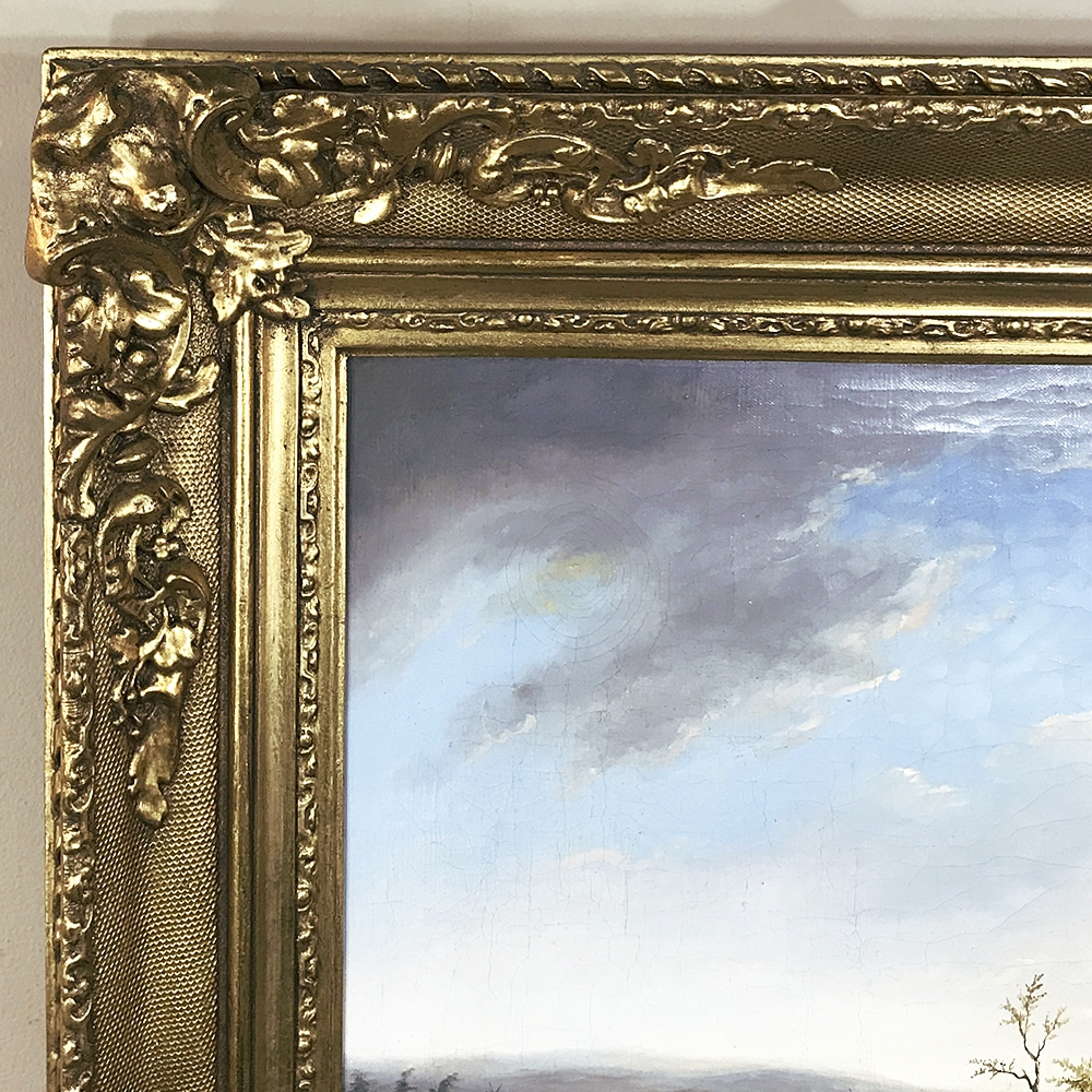 Antique 19th Century French Framed Hand Painted Oil