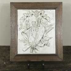 19th Century Framed Hand-Carved & Painted Wood Plaque