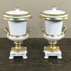 Pair 19th Century Vieux Paris Gold & White Lidded Vases