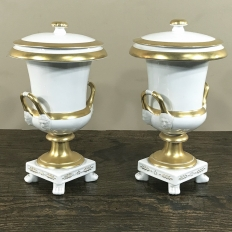 Vieux Brussels Gold & White Lidded Urns