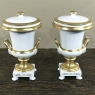 Pair 19th Century Vieux Paris Gold & White Lidded Vases