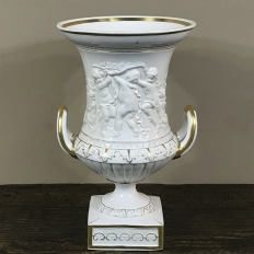 19th Century Vieux Paris Gold & White Embossed Vase