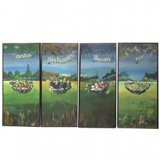 Set of 4 Large Scale Vintage Four Seasons Paintings