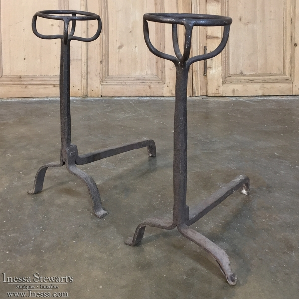 French Pair of 18th Century Wrought Iron Andirons