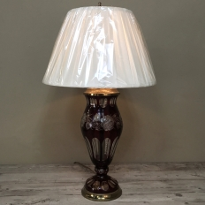 Antique Cranberry Cut Crystal & Brass Table Lamp