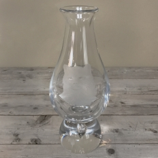 Antique Etched Glass Vase with Silver Base signed by Val Saint Lambert
