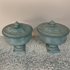 Pair 19th Century French Napoleon III Period Iron Garden Urns