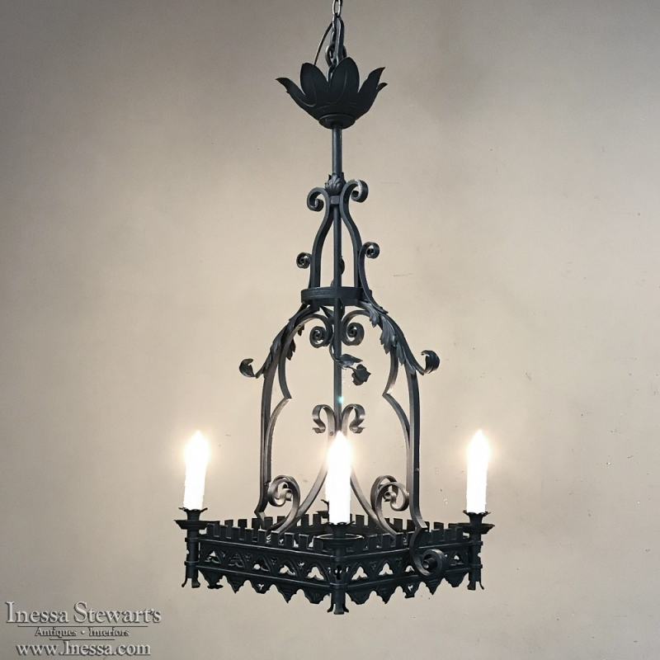 Antique Wrought Iron Gothic Chandelier