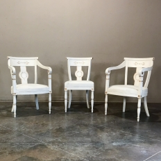 Set of 8 French Directoire Painted Chairs includes 2 Armchairs
