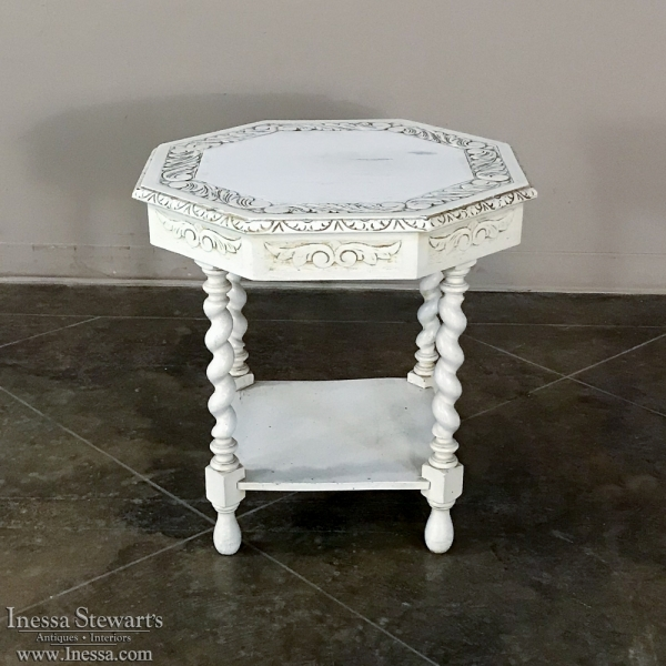 Antique Octagonal Painted End Table