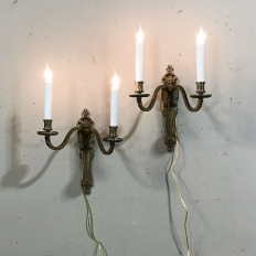 Pair French Louis XVI Bronze Sconces