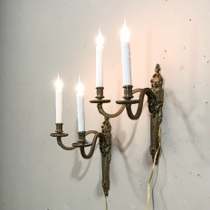 Pair French Louis XVI Bronze Sconces