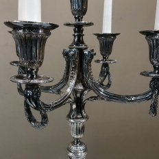 Pair 19th Century Silver Plate Brass Candlesticks