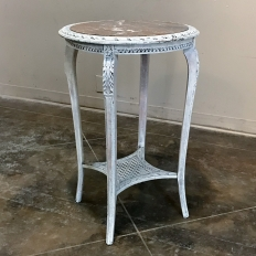 19th Century French Louis XV Painted Marble Top End Table