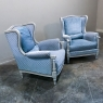 Pair Mid-Century French LXVI Painted Bergeres ~ Armchairs