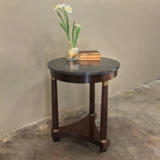19th Century French Empire Round Marble Top End Table