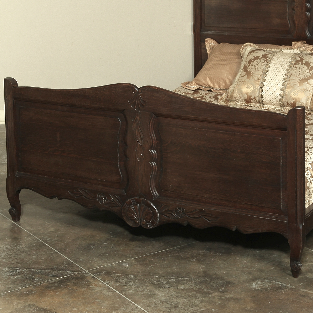 Country French Normandy Hand Carved Oak Full Size Bed
