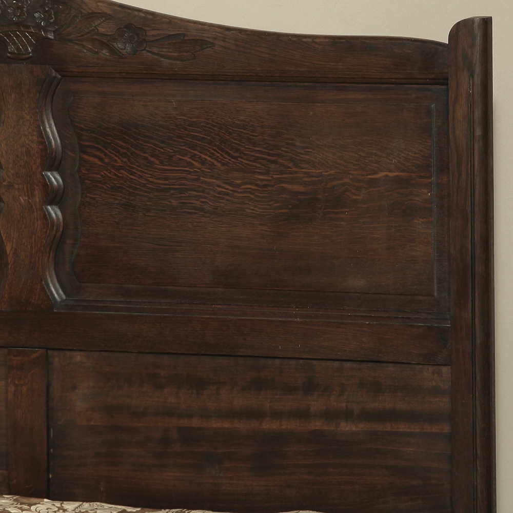 Hand Carved Bed: Country French Normandy Hand Carved Oak Full Size Bed
