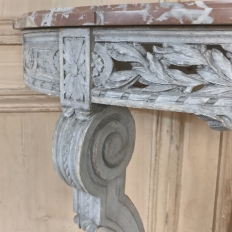19th Century French Louis XVI Demllune Marble Top Console