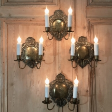 Set Of 4 Antique Embossed Brass Wall Sconces