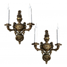Pair Italian Hand-Carved Louis XVI Giltwood Sconces